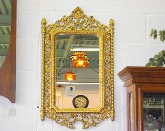 "Hollywood Regency Gold Mirror Filigree Ornate Frame - 32"" x 19""  Decorative Columns"