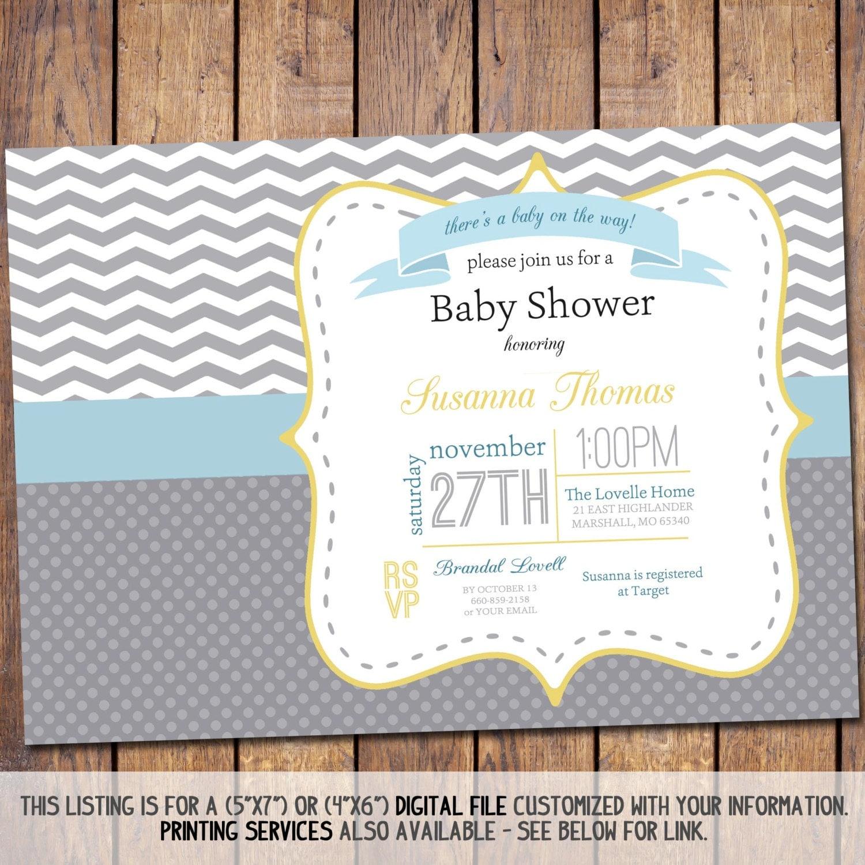gender neutral chevron baby shower invitation modern baby