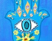 Ambrosino Art NEEDLEPOINT Mexican Folk Art  Evil Eye Hamsa House Blessing Hand of Fatima Protection Blue