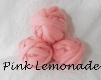 Wool roving, 1 ounce wool roving for needle felting, wet felting, spinning,1 oz. wool roving in Pink Lemonade, dyed wool sampler