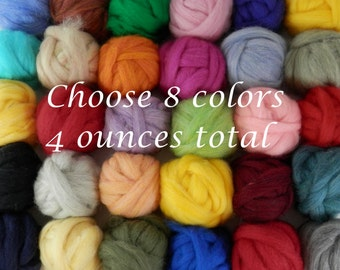 Wool roving  color assortment, needle felting supplies, pick your own colors from over 50 shades of roving, 8 colors 1/2 each for 4 ounces
