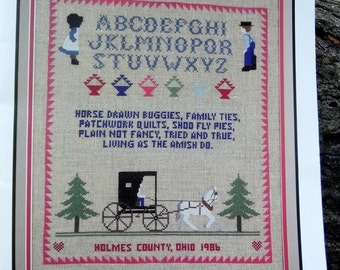 Amish Cross Stitch Sampler & Linen Pattern Chart  Homespun Hearts Basket Quilt Horse Drawn Carriage Primitive Country Home Decor