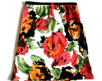 Handmade in New Zealand Stunning floral pink Girls Skirt in viscose cotton. Quick dry, wash and wear
