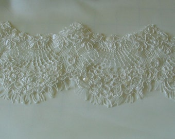 Beaded Lace Alencon Trim Wedding Ivory Delicate and Soft