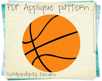 Sports Applique Template - Basketball Applique Pattern / Boys Sports Quilt / Basketball Quilt Pattern / Orange Basketball Shirt DIY AP334-D