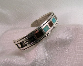 """Handcrafted Navajo Inspired Sterling Bracelet with Turquoise and Coral Inlay, 6.38"""" inside Circumference"""