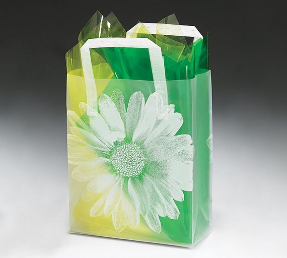 Plastic flower frosted retail gift bags totes with handles