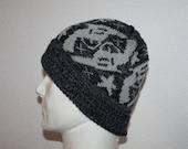 SALE PRICE: Grey Guns and Stars on a Black/Grey Pompom Beanie Hat