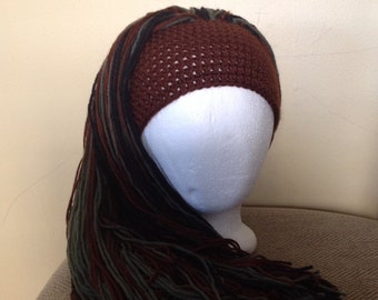 Handmade Crochet yarn Hat Hair wig,women, baby, kids, brown hair, wig, hair, yarn wig, hat wig Halloween wig costume in 3 different colors