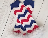 Red white and blue chevron ruffled leg warmers, Cubs, baseball, 4th of July, Patriots