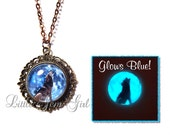 Howling Wolf Blue Moon Glow in the Dark Necklace - Glowing Wolf Victorian Vintage Style Brass Bronze Pendant Necklace