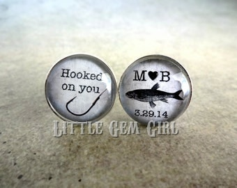 Fishing Cuff Links -  Hooked On You Personalized Name and Date Cufflinks - Silver Custom Wedding Cuff Links for Groom Fisherman Anniversary
