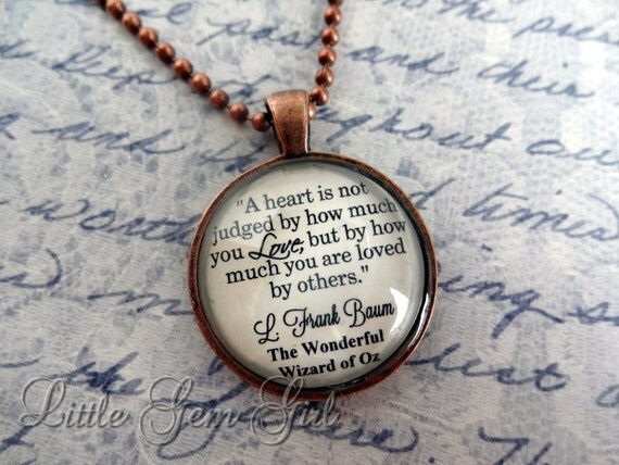 Wizard Of Oz Book Quote Necklace Book Jewelry Or By