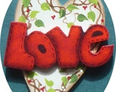LOVE  Valentine Pin/Magnet Vine Hearts Hand Painted Wood
