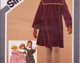 Simplicity 9816, Size 12, Girls' Dress with Detachable Collar Pattern, UNCUT, Summer, Cute, School Wear, Vintage 1980, Party Dress