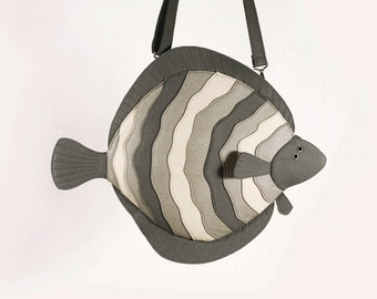 Flatfish Grey Felt Purse Flounder Laptop Purse