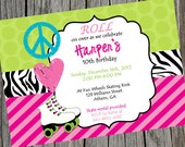 Printable Roller Skating Party Invitation.  Peace, Love & Skate Printable Party Invitation.