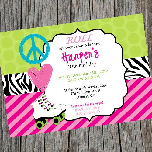 Printable Roller Skating Party Invitation Peace Love – Free Printable Roller Skating Party Invitations