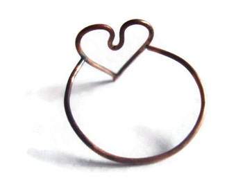 Simple copper heart ring