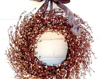Fall Wreath-Fall Door Decor-CHOCOLATE Brown Mix Wreath-Housewarming Gift-Woodland Wreath-Rustic Autumn Home Decor-Custom Made Scented Wreath