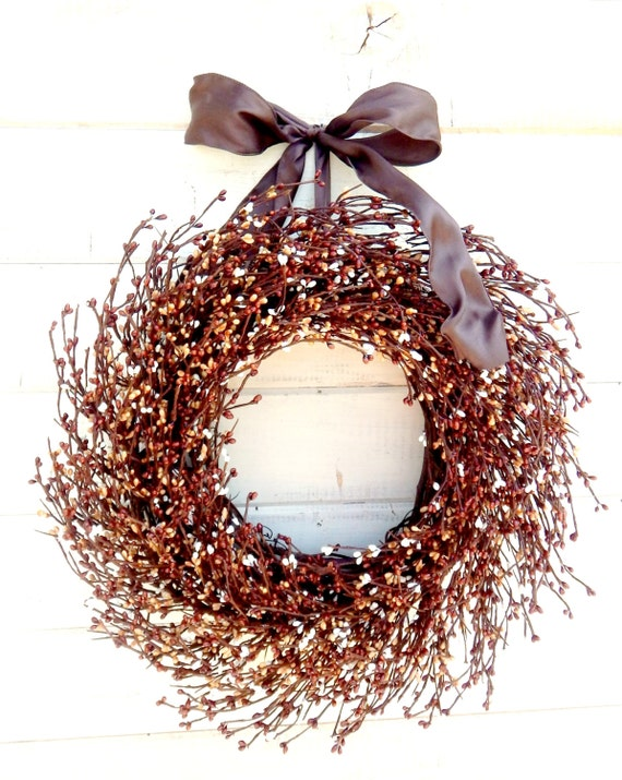 Fall Wreath-Fall Door Decor-CHOCOLATE Brown Mix Wreath-Housewarming Gift-Woodland Wreath-Rustic Autumn Home Decor-Custom Made Scented Wreath