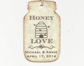 100 SWEET Honey BEE Hive Love Personalized Handmade Tags-Wedding Wish Tags-Honey jar tags-Favor tags