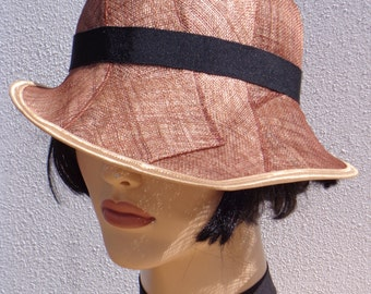 Retro hat, brown and black sinamay cloche, 1920s inspired hat, art deco fashion