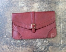 Burgundy Leather CLUTCH / Vintage Buckle Purse / Women's Classic Accessories