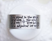 She Stood In The Storm Personalized Silver Cuff Custom Text Lyrics Bracelet Gift for Her Graduate Motivational Inspirational