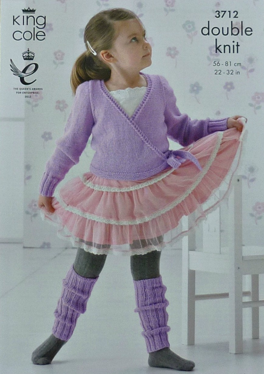 Knitting Pattern Wrap Over Cardigan : Girls Knitting Pattern K3712 Childrens Long Sleeve Wrap-Over Cardigan and Leg...