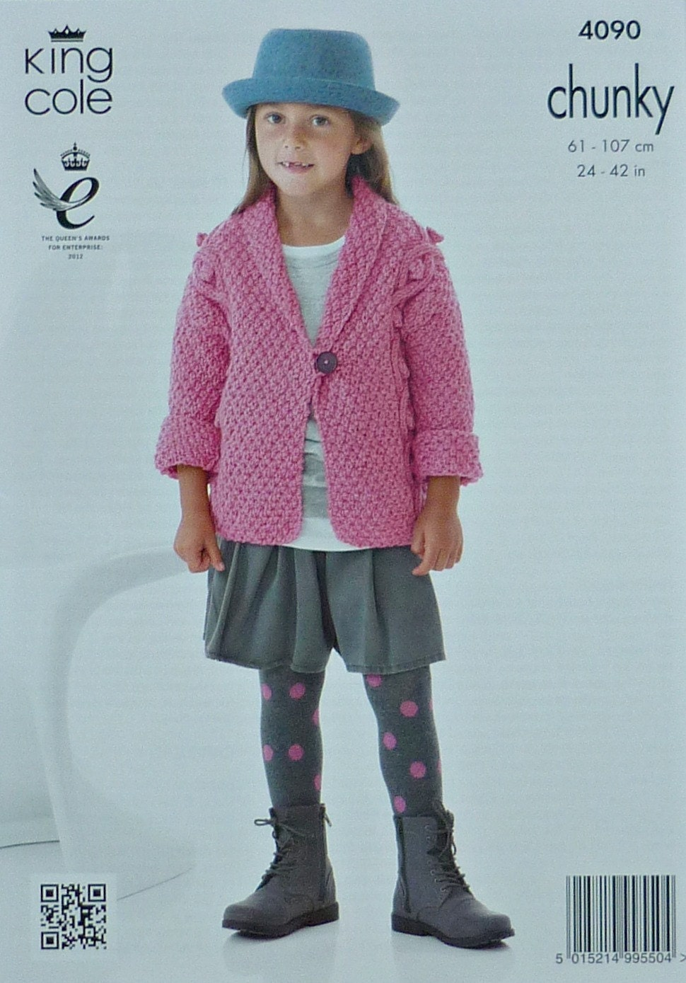 Girls Knitting Pattern K4090 Childrens/Ladies 3/4 Sleeve Cable Jacket with Ro...