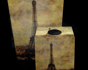 SET Wastebasket and Tissue Box Cover - View Over Paris
