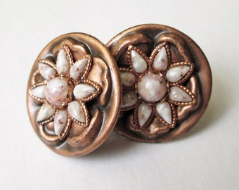 Copper and Confetti Stone Earrings Vintage 50's Starflower Design Screw On