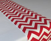 Red and White table runner - Premier Print Chevron - SELECT A SIZE