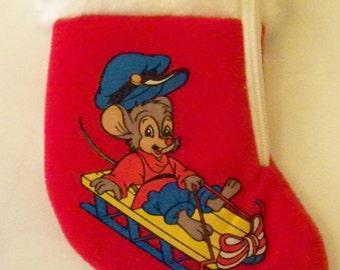 Christmas Stocking Baby's Christmas Toddler Christmas Stocking Mouse Sledding 1986 Universal City Studios