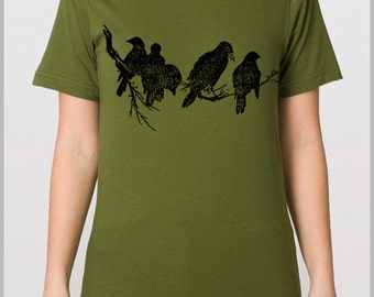 Birds on a Tree Limb T Shirt - Black Ravens Nature Silk Screen Printed by Hand Unisex American Apparel Tee xs, sm, m, l, xl 9 Colors