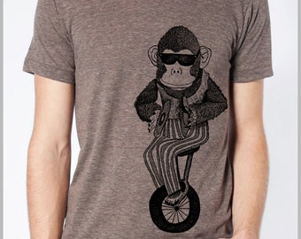 Unicycle Monkey T Shirt American Apparel Unisex  XS, S, M, L, XL 9 COLORS