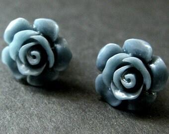 Indigo Blue Flower Earrings. Dusk Blue Earrings. Gardenia Flower Earrings. Bronze Post Earrings. Blue Rose Earrings. Handmade Earrings.