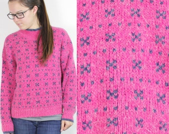SALE Vintage Retro Pink Patterned Sweatshirt Small