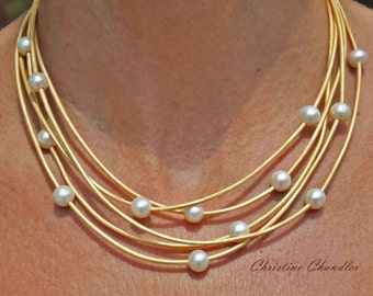 Pearl and Leather Jewelry Necklace - 5 Strand Metallic Gold Leather and White Pearl Necklace - Pearl and Leather Jewelry Collection