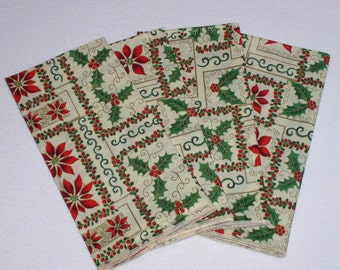 Christmas Cloth Napkins - Set of 4 Red Poinsettias and Holly with red Berries Cream Napkins