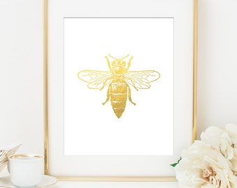 Bumble Bee Art Print, Gold Bee, Bee Print, Gold Bee Print, Home Office Decor, Gold Wall Art, Gold Decor, Gift for Her, Gift for Mom