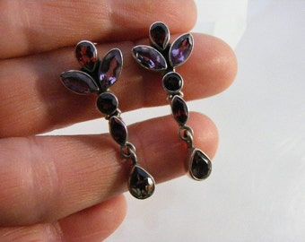 Vintage Sterling Silver Amethyst, Garnet, Smokey Quartz Earrings  Lot 3431