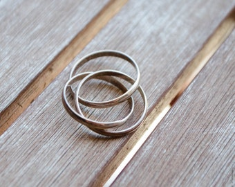 90s Sterling Silver Intertwined Ring - 3 ring combo - SALE