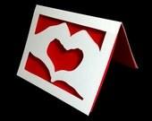 Hands Making a Heart Greeting Card, Valentine, Anniversary Card First Anniversary Papercut Card, Scherenschnitte