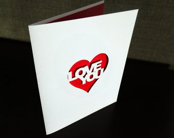 Love You Heart Greeting Card, Cutout Anniversary Wedding Valentine's Card