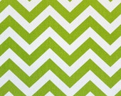 "Pair of Chevron Zig Zag Chartreuse and White Drapery Panels Choose Your Length 50"" x 63, 84, 96, 108, 120"