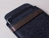iPad Air Case - iPad Air Sleeve - Charcoal Felt with Antique Leather Closure