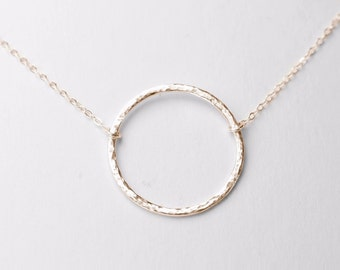 Hammered Circle Necklace - sterling silver circle necklace, halo necklace, eternity necklace
