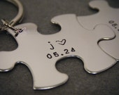 Puzzle Piece Keychain Set, Unique Engagement Gift, Unique Wedding Gift, Initial Date Keychains, Set of 2 couple keychains, Custom Engagement